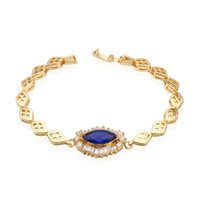 bar and noble - Women s Noble Deep Blue Sapphire and White Clear Crystal k Yellow Gold Plated Tennis Bracelet quot