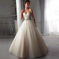 Wholesale 2016 Hot Sale A line Princess Wedding Dresses Beaded Low Back Bridal Gowns Vestidos de Novia