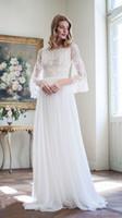 bell charts - Bohemian A Line Wedding Dresses Off Shoulder Long Bell Sleeve Zipper Divine Atelier Boho Beach Bridal Gowns Chiffon Lace Modern New hot