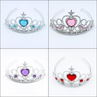 anna stone - 2016 New children frozen anna elsa tiara Elsa Anna princess crowns Stones tiara baby cosplay party hair accessories pageant hairbands MC0109