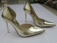 air pump shoes - Korean version of the new metal mirror material high with shoes sexy side air pointed shoes gold silver wedding shoes