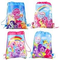 al por mayor rosa teje-20 piezas My Little Pony doble caras no tejidas impresas Bundle Strawstring Bolsas Niños Bolsas de Natación