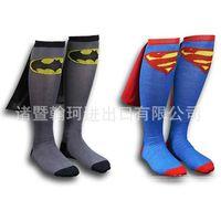 animals wondering - New Dc superhero socks Batman Wonder Knee High Crew Socks With Cape Women Men Couple Cotton Stockings mens football socks DHL shipping E783