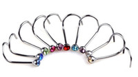 Wholesale 2016 Hot New Arrivel Titanium Steel Nose Screw Studs Rings Rhinestone Crystal Gem Piercing Bars Nose Ring For Women Men Jewelry
