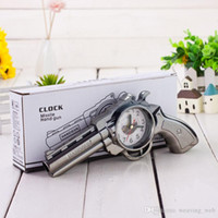 Wholesale wb Novelty Revolving Pistol Clock Missle Hand Gun Alarm Clock Creative Mini Vintage Home decor Accessories