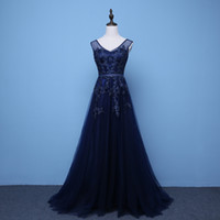 Wholesale 2017 Dark Navy Black Tulle Evening Gowns With Lace Appliques Sequines Long Evening Party Dresses Sweep Train