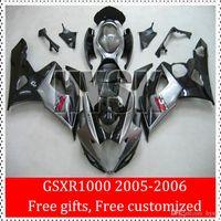 Los carenados ABS juego completo para Suzuki GSX-R 1000 2005 2006 GSXR 1000 05 06 GSXR1000 K5 de la alta calidad que compite con el carenado de kits de pintura Negro Plata