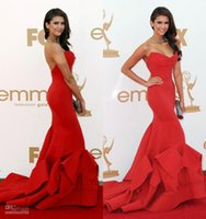 Wholesale 2016 Red Sexy Nina Dobrev mermaid Mermaid Celebrity Dresses Strapless Satin Formal Evening Party Gowns