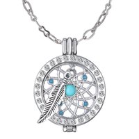 Wholesale My Coin Rhinestone Crystal Pendant Necklace DIY Create Angle Wing Alloy Material Hollow Locket Fashion Jewelry For Sweater Gift For Women
