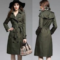 army trench coats for sale - Womens Trench Coat Army Green Cotton Long Coat For Ladies European American Style Classical Original Designer Brand Best Sales BC1165