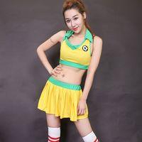 adult football - pieces Sexy Fantasy Football Costume Cheerleader Costumes Adult Sport Uniform Fantasias De Festa Femininas Adulto Top Pant