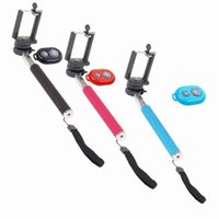 Wholesale Extendable Hand Held Kit Selfie stick Monopod Bluetooth Remote Shutter Self Timer For iphone s S iphone samsung galaxy s4