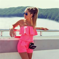 Wholesale 2016 New summer bodysuit romper womens jumpsuit Sexy rompers for women Strapless one piece pink jumpsuit short playsuit femme
