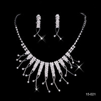 crystals for sale - Hot Sale Holy Rhinestone Crystal Flower Earring Necklace Set Bridal Party Lobster Clasp Cheap Jewel Sets for Prom Evening Women