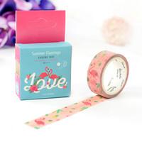 Wholesale DIY Japanese Paper Decorative Adhesive Tape Cartoon Summer Flamingo Washi Tape Masking Tape Stickers Size mm m