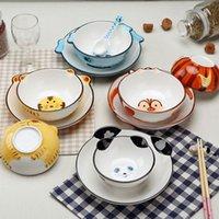 Wholesale Ceramic children tableware lovely cartoon bowl plate gift set D painted animal bowl