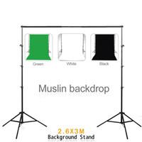 Fotografía Equipo 2.6 * 3m Aluninum Fondo Apoyo con 3 * 2m Negro Blanco Verde muselina telón de fondo para Foto