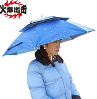 automatic sun shades - Fordable SunShade UV Protection Double Windproof Umbrella Hat Cap Sun Shade Camping Fishing Hiking Festivals Outdoor Brolly