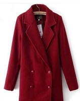 Wholesale European Han Edition Loose Long Woollen Coat Of Cultivate One s Morality Rose lyy15082201