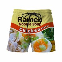 Cheap Wholesale-Chicken Ramen Shorts Mens Funny Noodle Prints 3D Short Pants Vacation Hipster Beach Shorts Male Hip Hop Sport Board Shorts