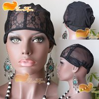 Wholesale New Glueless Lace Wig Caps For Making Wigs Stretch Lace With Adjustable Straps Back Weaving Cap Black Color