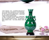 art deco vases - Jingdezhen ceramics Antique piece of green vase furnishing articles Restoring ancient ways is a traditional Chinese home decoration and deco