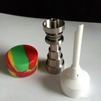 Wholesale 2015 Newest Fully Adjustable Male and Female Domeless Titanium Nail mm Glass bongs with Carb cap oil wax jar