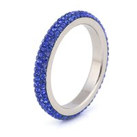 Wholesale Women fashion part of l stainless steel ring line thin blue green red wedding ring crystal jewelry