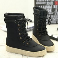 Wholesale Popular Sales Women Boots Mid Calf Winter Boots Lady Lace Up Casual Women Flat Shoes TZ0463