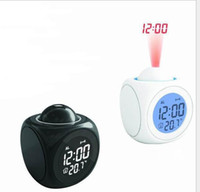 lcd talking alarm clock - Led Projection Alarm Clock Multi Function LCD Voice Talking LED Projection Alarm Clock Temp Table Desk Electronic Clock color KKA258