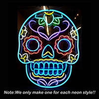 best glass window - Tattoo Skull Neon Sign Skull Beer Pub Neon Bulbs Room Recreation Windows Neon Signs Real Glass Tube Handcraft Best Gifts x20