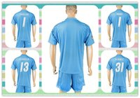 Wholesale New Uniforms Kit Real Madrid soccer Jersey CASILLAS NAVAS K Casilla R YANEZ Sky Blue Goalkeeper Jerseys