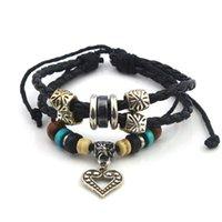 L002 12pc / lot bracelet en bois de fantaisie de fantaisie de fantaisie de handmade de perles de bois de la main libre de handmade pour des amants '