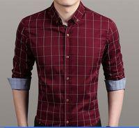 Wholesale 2016 new arrival Slim fit stylish plaid long sleeved dress shirt bridegroom shirts business men dress shirts