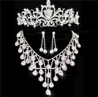 2016 Bijoux nuptiaux en cristal de Bling bon marché fixent les boucles d'oreille de diamant de collier d'argent Party les ensembles de bijoux de mariage pour les femmes de mariée