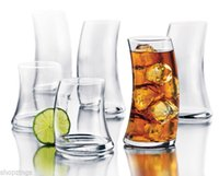 Wholesale 16 Piece Glassware Set Curved Drinking Glasses Clear Tumbler Sway Slant