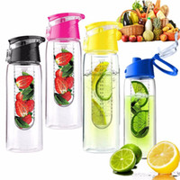 Wholesale 800ml Water Bottle Cycling Sport Kettle Fruit Infusing Infuser Lemon Cup Juice Bicycle Health Eco Friendly BPA Detox Bottle Flip Lid CS54