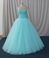 aqua tulle - Fashion Aqua Blue Sequined Quinceanera Dresses Ball Gowns Sweetheart Corset For Sweet Girls Tulle Pleated Cheap Prom Evening Dress