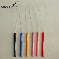 cold fusion hair extensions - multi color plastic handle hook loop Threader for micro loop nano ring beads cold fusion hair Extensions