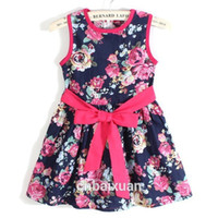 Wholesale summer dress girl dress new for age bow floral Girls Princess Party Kids Formal Dress