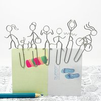 Wholesale A84 CARTOON MEN SET PAPER CLIP PRACTICAL NOVELTY CREATIVE STAINLESS WIRE HAND MADE ART CRAFTS WEDDING BIRTHDAY HOME OFFICE GIFT PRESENT