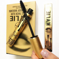 aluminum sizes - 2016 Kylie Eyes Mascara AAA Top Makeup Golden Aluminum Single Waterproof Anti Sweat Slim Dense Black Mascara Beautiful Eye Health Beauty