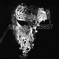 ask metal - ask masquerade Silver Black Gold Color Phantom Laser Cut Venetian Mask Masquerade Metal Men or Women Skull Filigree for p