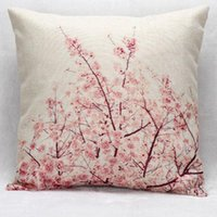 bean blossom - Manufacturers Selling Beautiful Cherry Blossoms Linen Cotton Throw Pillow Living Room Sofa Decorative Cushion