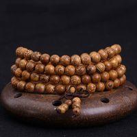 Cheap 108 *0.8cm Wenge Prayer Beads Tibetan Buddhist Mala Buddha Bracelet Rosary Wooden Bangle Jewelry