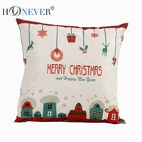 bell car seat covers - Merry Christmas bells Linen Cotton Blend Seat Back Cushion Covers Bed Sofa decor Sofa Car Back Cushion Cover gift