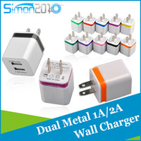 Wholesale 5V A dual Wall Charger Mini metal USB in EU US Plug AC Adapter for Samsung s3 s4 s5 s6 HTC Blackberry