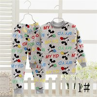 Wholesale Baby Boys Girls Cartoon Underwear Suits Cotton T shirts And Trousers Newest Winter Kids Sleepwear Girls Home Soft Clothing