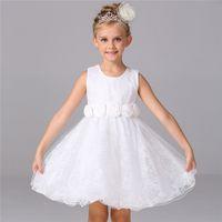 Sleeveless vogue wedding dress - Flower Girl Dress New Vogue Vestido meninas Children Party Clothes Lace Floral Embossed Kids Girls Wedding Dresses