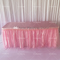 Wholesale Pink Satin Table Cloth With Tutu Table Skirt Lace Yarn Wedding Party Decoration